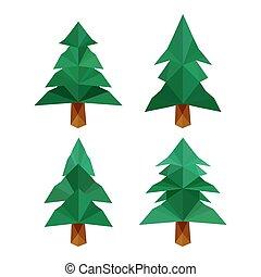 különböző, sóvárog, négy, bitófák, gyűjtés, origami