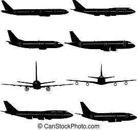 különböző, silhouettes., ábra, repülőgép, vektor, gyűjtés