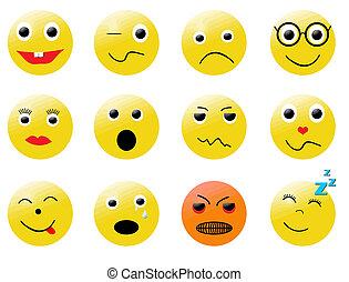 különböző, smileys, érzelmek