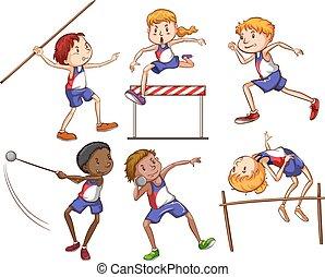 különböző, sport, külső, megnyerő, gyerekek