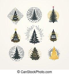 különböző, starburst, ábra, vektor, bitófák, karácsony