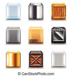 különböző, vektor, állhatatos, dobozok, ikonok