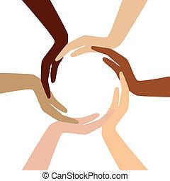 különböző, vektor, -, karika, kéz
