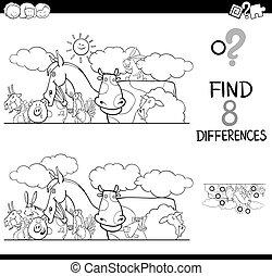 különbségek, állat elpirul, tanya, könyv