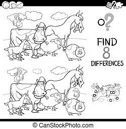 különbségek, játék, állat elpirul, tanya, könyv