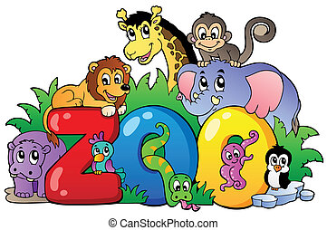 különféle, állatkert, állatok, aláír