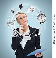 különféle, alkalmazásokat, tabletta, üzletasszony, számítógép, figyelembe véve