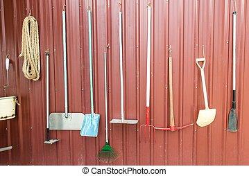 különféle, gazdálkodás, eszközök, equipments