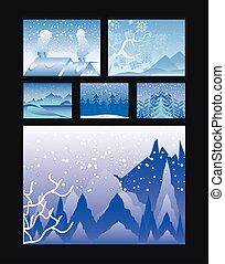 különféle, háttér, épület, bitófák, színek, tél, fekete, táj, sóvárog, hegyek