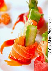 különféle, tányér, darabok, japán, sashimi