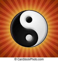 küllők, jelkép, yin yang, háttér, piros