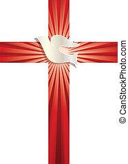 küllők, keresztény, galamb, jelkép., kereszt, vektor, háttér, fénylő, vallásos, piros