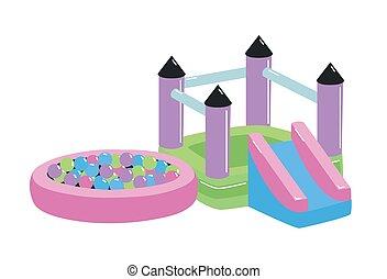 külső, activity., csonthéjas mag, style., terület, elszigetelt, heccel, felszerelés, játszótér, fehér, lakás, játék labda, színes, ábra, háttér., karikatúra, babaház, gyerekek, csúszás, vektor, vagy