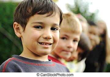 külső, csoport, portré, boldog, gyerekek