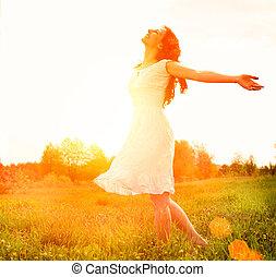 külső, enjoyment., nature., szabad, woman lány, élvez, boldog