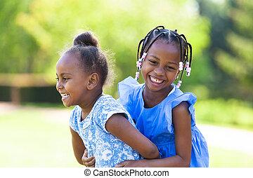 külső, fekete, nevető, lánytestvér, portré, csinos, fiatal