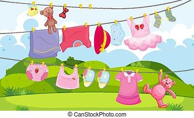 külső, gyerekek, öltözék, színhely, ruhaszárító kötél, segédszervek