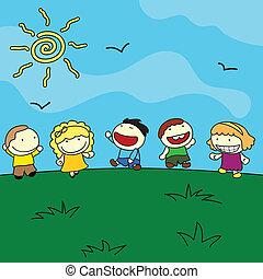 külső, gyerekek, háttér, boldog
