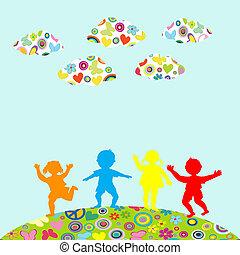 külső, gyerekek, körvonal, húzott, kéz, játék