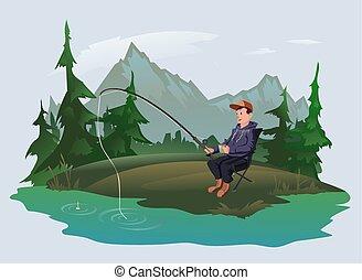 külső, illustration., rúd, lake., tengerpart, vektor, halász, halászat, aktivál, recreation., erdő