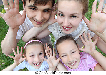 külső, kilátás, áll, horgonykapák, gyerekek, szülők, kinyitott, tető, két