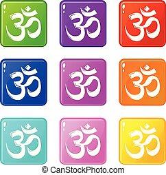 külső marker, állhatatos, ikonok, szín, jelkép, gyűjtés, 9, hinduizmus