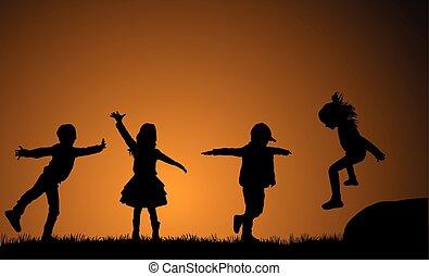 külső rész., játék, gyerekek, háttér, sunset.