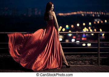 külső, szépség, csapkodó, fiatal, híres, nő, ruha, piros