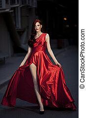 külső, szépség, fiatal, híres, nő, ruha, piros