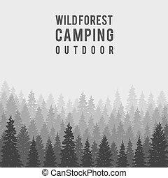 külső, vektor, kempingezés, toboztermő fa, sablon, vad, tervezés, erdő, háttér.