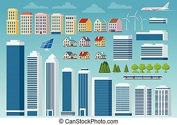külvárosi, bitófák, épületek, csinál, vektor, isolated., infrastruktúra, város, cityscape, utca, nagy, autók, alapismeretek, modern, saját, nagy, repülőgép, városi, állhatatos, -e, constructor.