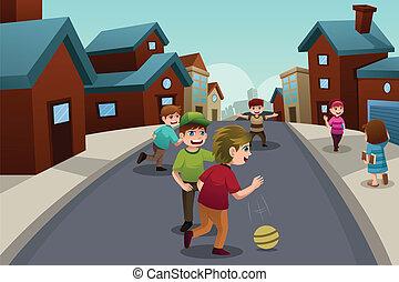 külvárosi, gyerekek, neighborhood utca, játék
