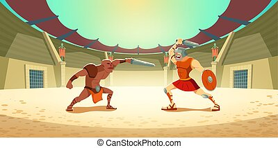 küzdőtér, barbár, gladiator, amfiteátrum, verekszik