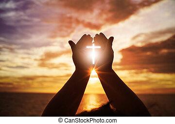 küzdelem, oltáriszentség, nyílik, pálma, diadal, emberi, isten, katolikus, feláll, repent, keresztény, húsvét, fogalom, ételadag, kölcsönadott, kézbesít, elme, háttér., pray., áld, vallás, worship., terápia