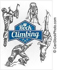 kő, -, állhatatos, embléma, vektor, climbing., climbers.
