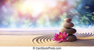 kő, ásványvízforrás, csiszol, virág kert, lótusz