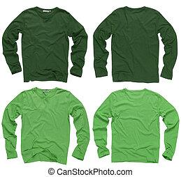 kabátujj, tiszta, ing, hosszú, zöld