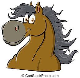 kabala, betű, fej, karikatúra, ló