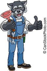 kabala, birtok, vízvezeték szerelő, karikatúra, búvárdugattyú, farkas
