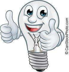 kabala, fény, lightbulb, karikatúra, gumó, betű