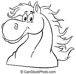 kabala, fehér, fej, fekete, character., karikatúra, ló