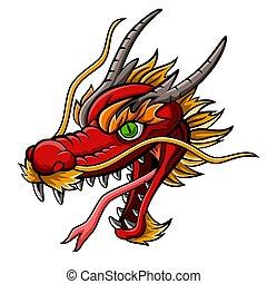 kabala, fej, karikatúra, piros, sárkány, vad