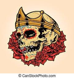 kabala, fejtető, koponya, jel, király, királyi, vektor, ábra, rózsa
