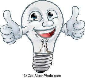 kabala, karikatúra, égő, betű, lightbulb