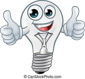 kabala, lightbulb, karikatúra, fény, betű, gumó