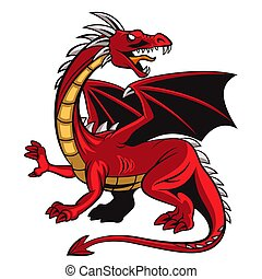 kabala, mérges, karikatúra, piros, sárkány