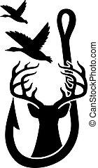 kacsa, őz, tervezés, elveszett, begörbít, fishing)., (hunting