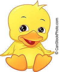kacsa, csecsemő, csinos, karikatúra