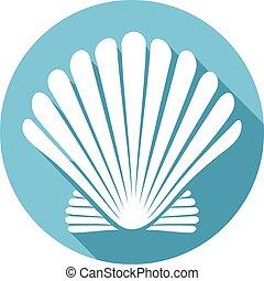 kagyló, (sea, shell), lakás, ikon