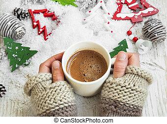 kakaó, csésze, bögre, csokoládé, idő, csípős, hatalom kezezés, karácsony